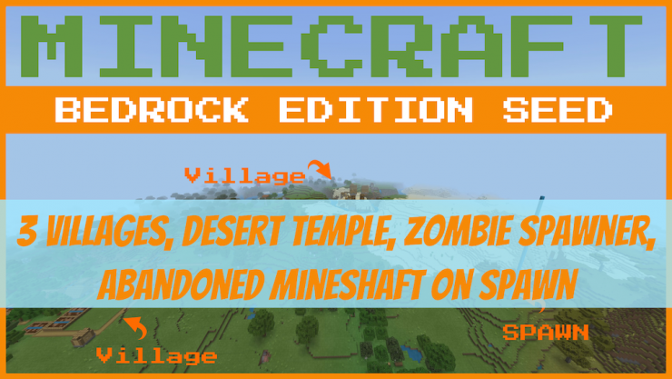 3 Villages at Spawn Minecraft Bedrock Seed Spawn Map Picture