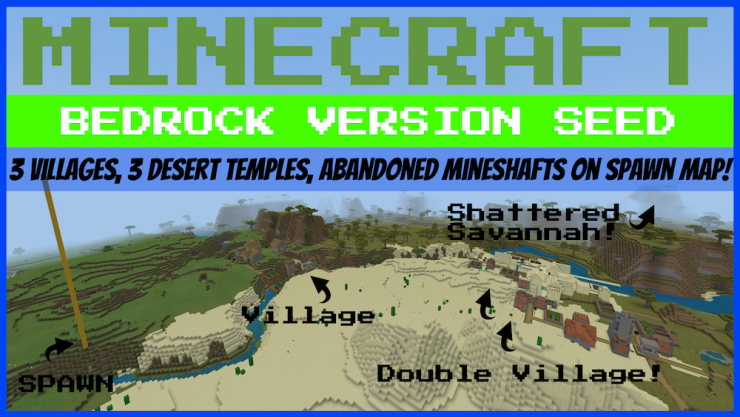 3 village farm 3 desert temples Minecraft bedrock seed photo